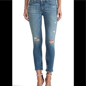 R&B distressed Capri Denim w/zipper detail
